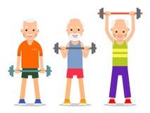 Οι ηληκιωμένοι εκτελούν τις ασκήσεις στην ανύψωση barbell Ενήλικοι άνθρωποι μέσα διανυσματική απεικόνιση