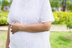 Οι ηλικιωμένες ασιατικές γυναίκες με τις φακίδες ή η ρυτίδα στο βραχίονα, προβλήματα ασθενειών δερμάτων, κλείνουν επάνω στοκ εικόνα