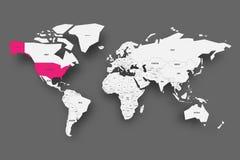 Οι Ηνωμένες Πολιτείες της Αμερικής, ΗΠΑ ή ΗΠΑ, οδοντώνουν τονισμένος στο χάρτη του κόσμου Ανοικτό γκρι απλουστευμένος χάρτης με τ απεικόνιση αποθεμάτων