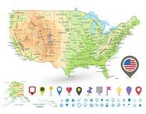 Οι ΗΠΑ απαρίθμησαν τα φυσικά εικονίδια χαρτών και ναυσιπλοΐας Στοκ Εικόνες