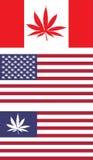 Οι ΗΠΑ και ο Καναδάς οι σημαίες Στοκ εικόνες με δικαίωμα ελεύθερης χρήσης