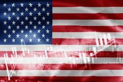 Οι ΗΠΑ σημαιοστολίζουν, χρηματιστήριο, οικονομία ανταλλαγής και εμπόριο, παραγωγή πετρελαίου, σκάφος εμπορευματοκιβωτίων στην εξα διανυσματική απεικόνιση