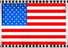 Οι ΗΠΑ σημαιοστολίζουν το δημιουργικό πλαίσιο ταινιών grunge Στοκ Φωτογραφία