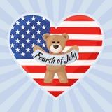 Οι ΗΠΑ Teddy αντέχουν για τη ημέρα της ανεξαρτησίας Στοκ φωτογραφία με δικαίωμα ελεύθερης χρήσης
