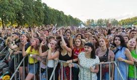 Οι θαυμαστές απολαμβάνουν τη χυδαία Molly ζωντανή Φεστιβάλ Σαββατοκύριακου ατλάντων, Κίεβο, Ουκρανία Στοκ Εικόνες