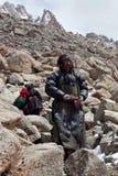 Οι θιβετιανοί προσκυνητές στο Λα Drolma περνούν, Θιβέτ Στοκ φωτογραφία με δικαίωμα ελεύθερης χρήσης