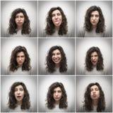 οι διαθέσιμες eps χαρακτήρα κινουμένων σχεδίων εκφράσεις αρχειοθετούν το αστείο κορίτσι Στοκ Φωτογραφία