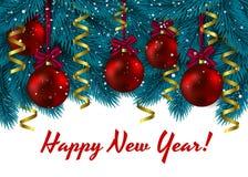 Οι διακοσμήσεις Χριστουγέννων διακλαδίζονται μπλε έλατο επίσης corel σύρετε το διάνυσμα απεικόνισης χαιρετισμός Χριστουγέννων καρ Στοκ εικόνα με δικαίωμα ελεύθερης χρήσης