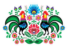 Πολωνική floral κεντητική με τους κόκκορες - παραδοσιακό λαϊκό σχέδιο διανυσματική απεικόνιση