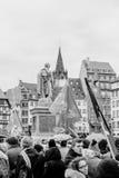 Οι διαμαρτυρόμενοι σύλλεξαν στο pla της τετραγωνικής κυβέρνησης διαμαρτυρίας Kleber Στοκ Εικόνες