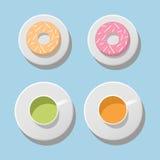Οι διανυσματικές κούπες και donuts θέτουν μονωμένος Στοκ Εικόνα
