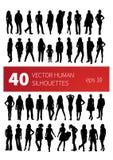 Οι διανυσματικές σκιαγραφίες των ανθρώπων σε διάφορο θέτουν Στοκ Φωτογραφία