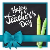 Οι διανυσματικοί συρμένοι χέρι χαιρετισμοί εγγραφής ημέρας δασκάλων ονομάζουν - ευτυχής ημέρα δασκάλων με τη ρεαλιστικά κορδέλλα  ελεύθερη απεικόνιση δικαιώματος