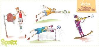 Οι διανυσματικοί χαρακτήρες κινουμένων σχεδίων θέτουν: Αθλητισμός Στοκ Φωτογραφίες