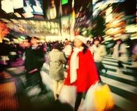 Οι ιαπωνέζοι συσσωρεύουν έννοια οδών περπατήματος τη διαγώνια Στοκ Εικόνες