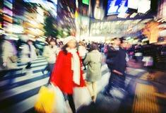 Οι ιαπωνέζοι συσσωρεύουν έννοια οδών περπατήματος τη διαγώνια Στοκ φωτογραφίες με δικαίωμα ελεύθερης χρήσης