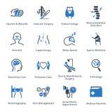 Οι ιατρικές υπηρεσίες & τα εικονίδια ειδικοτήτων θέτουν 5 - μπλε σειρά Στοκ φωτογραφία με δικαίωμα ελεύθερης χρήσης