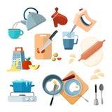 Οι διαδικασίες μαγειρέματος κουζινών, ξυμένα λαχανικά, αναμίκτης, που τηγανίζεται, ζύμη, βράζουν, λείανση ελεύθερη απεικόνιση δικαιώματος