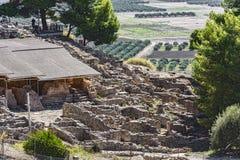 Οι ιστορικές καταστροφές του παλατιού Festa στο νησί της Κρήτης Στοκ εικόνα με δικαίωμα ελεύθερης χρήσης