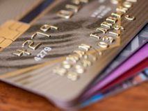 οι κάρτες ανασκόπησης πιστώνουν τη βαθιά εστίαση μικρή Στοκ εικόνα με δικαίωμα ελεύθερης χρήσης