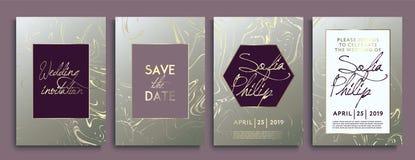 Οι κάρτες γαμήλιας πρόσκλησης με το μαρμάρινο υπόβαθρο σύστασης και τη χρυσή γεωμετρική γραμμή σχεδιάζουν το διάνυσμα Σύνολο πλαι διανυσματική απεικόνιση