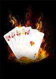 Οι κάρτες καίνε με το υπόβαθρο πυρκαγιάς Στοκ εικόνα με δικαίωμα ελεύθερης χρήσης