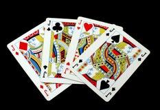 οι κάρτες ξεπλένουν το πόκερ παιχνιδιού βασιλικό απατεώνας γρύλος Κάρτα παιχνιδιού Στοκ Φωτογραφία