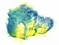 Οι κάρτες του στίγματος από μελάνη rorschach εξετάζουν την μπλε και κίτρινη κηλίδα watercolor Στοκ Φωτογραφία