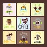 Οι κάρτες τροφίμων διακριτικών καφέ δίνουν στη συρμένη καλλιγραφική γράφοντας αυτοκόλλητη ετικέττα εστιατορίων τη διανυσματική απ Στοκ εικόνες με δικαίωμα ελεύθερης χρήσης