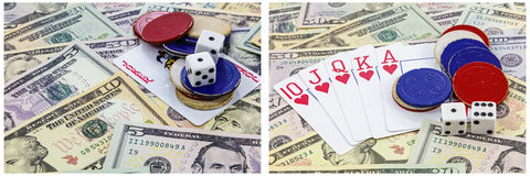 Οι κάρτες τσιπ άσσων πόκερ χωρίζουν σε τετράγωνα το κολάζ χρημάτων Στοκ εικόνα με δικαίωμα ελεύθερης χρήσης