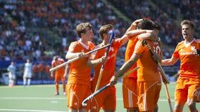 Οι Κάτω Χώρες κτυπούν Argentinia κατά τη διάρκεια του Παγκόσμιου Κυπέλλου το 2014 χόκεϋ Στοκ Εικόνα