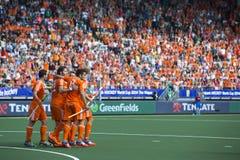 Οι Κάτω Χώρες κτυπούν Argentinia κατά τη διάρκεια του Παγκόσμιου Κυπέλλου το 2014 χόκεϋ Στοκ φωτογραφία με δικαίωμα ελεύθερης χρήσης