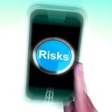 Οι κίνδυνοι στο κινητό τηλέφωνο παρουσιάζουν τους επενδυτικούς κινδύνους και κρίση οικονομίας απεικόνιση αποθεμάτων