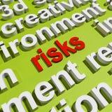 Οι κίνδυνοι στο σύννεφο του Word παρουσιάζουν επενδυτικούς κινδύνους διανυσματική απεικόνιση