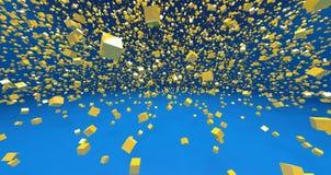 Οι κίτρινοι τρισδιάστατοι κύβοι στο μπλε υπόβαθρο δίνουν Στοκ Φωτογραφία