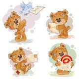 Οι καθορισμένες απεικονίσεις τέχνης συνδετήρων της teddy αρκούδας παίρνουν και στέλνουν τις επιστολές ελεύθερη απεικόνιση δικαιώματος