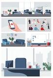 Οι καθορισμένοι άνθρωποι και τα υπόβαθρα συλλογής επιχειρησιακών γραφείων για τις πληροφορίες γραφικές, διαφημίζουν, κινούμενα σχ Στοκ Εικόνα