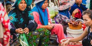 Οι καμποτζιανές γυναίκες πωλούν τα ψάρια Στοκ Εικόνα
