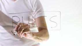 Οι κανόνες επιχειρηματιών γράφουν το δείκτη σε έναν διαφανή πίνακα απόθεμα βίντεο