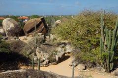 οι Καραϊβικές Θάλασσες Το νησί της Αρούμπα Εθνικό πάρκο Arikok Βράχος Ayo πετρών Στοκ εικόνα με δικαίωμα ελεύθερης χρήσης