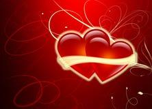 οι καρδιές ημέρας αγαπούν δύο βαλεντίνους Στοκ Εικόνα