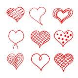 Οι καρδιές ημέρας βαλεντίνων doodles θέτουν Ρομαντική συλλογή αυτοκόλλητων ετικεττών Συρμένο χέρι διάνυσμα επίδρασης ελεύθερη απεικόνιση δικαιώματος