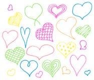 Οι καρδιές ημέρας βαλεντίνων doodles θέτουν Ρομαντική συλλογή αυτοκόλλητων ετικεττών Συρμένο χέρι διάνυσμα επίδρασης απεικόνιση αποθεμάτων