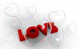 οι καρδιές φυσαλίδων αγαπούν τη λέξη βαλεντίνων σαπουνιών διανυσματική απεικόνιση