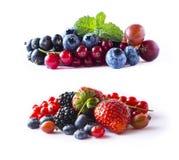οι καρποί μούρων ανασκόπη&sigma Ώριμες σταφίδες, βατόμουρα, βακκίνια, φράουλες, ριβήσια με ένα φύλλο Στοκ φωτογραφία με δικαίωμα ελεύθερης χρήσης