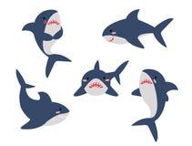 Οι καρχαρίες κινούμενων σχεδίων σε διαφορετικό θέτουν το σύνολο συλλογής Απομονωμένη διανυσματική απεικόνιση διανυσματική απεικόνιση