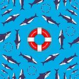 Οι καρχαρίες περιβάλλουν γύρω από το δαχτυλίδι ζωής επίσης corel σύρετε το διάνυσμα απεικόνισης μαύρο χιούμορ απεικόνιση αποθεμάτων