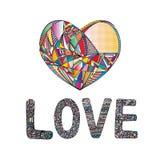 Οι καρδιές δίνουν το συρμένο διανυσματικό υπόβαθρο Αφηρημένη τυποποιημένη απεικόνιση αγάπης Στοκ Εικόνες