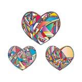 Οι καρδιές δίνουν το συρμένο διανυσματικό υπόβαθρο Αφηρημένη τυποποιημένη απεικόνιση αγάπης Στοκ Εικόνα