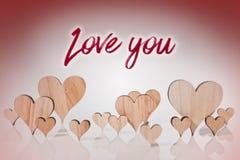 Οι καρδιές με το κείμενο σας αγαπούν Στοκ Φωτογραφίες